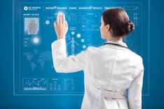 Female doctor working on futuristic transparent monitor on blue background
